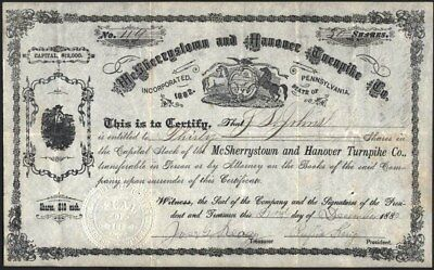 Mc Sherrystown And Hanover Turnpike Co Of Pennsylvania, 1882, Uncancelled Stock