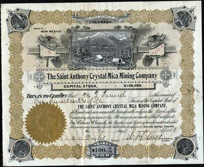 Saint Anthony Crystal Mica Mining Co, 1898. Mines In New Mexico, Incorporated Co