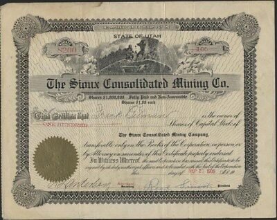 Sioux Consolidated Mining Co, Of Utah, 1909 Stock Certificate