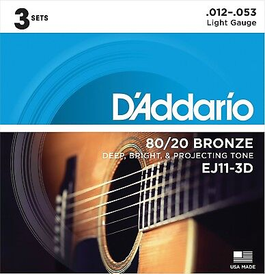 D'Addario Guitar Strings  3 Pack  Acoustic  EJ11-3D  Light  80/20 Bronze