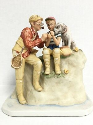 Norman Rockwell Trout Dinner Figurine by Gorham Ltd Ed Numbered