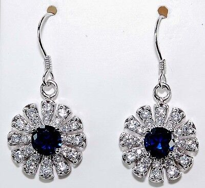 2CT Blue Sapphire & Topaz 925 Solid Genuine Sterling Silver Earrings Jewelry
