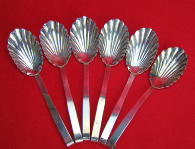 Set of 6 Raimond Vintage Sterling Silver Repousse Clam Shell Bowl Spoons