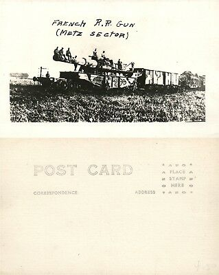 FRENCH RAILWAY GUN WWI REAL PHOTO POSTCARD ANTIQUE RPPC railroad METZ SECTOR