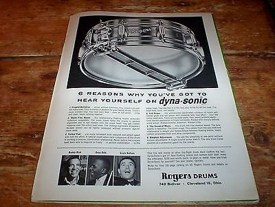 ROGERS DRUMS Dyna Sonic / buddy rich COZY COLE louis bellson 1962 Vintage Ad NM-