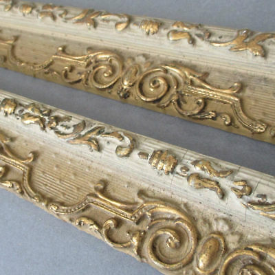 2 Pcs Antique c1920s FRENCH Wood Moulding Trim Delicate GILT Gesso Decorations