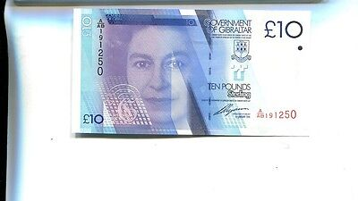 Gibraltar 2010 10 Pound Currency Note Choice Cu 5600H