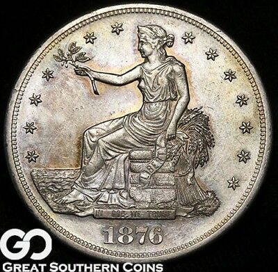1876-S Trade Dollar, Nice Strike, Choice Uncirculated++ Silver Dollar, Free S/H!