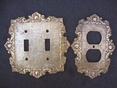 Vintage Cambron Original 440D Solid Brass Double Light Switch Plate Scroll Linen