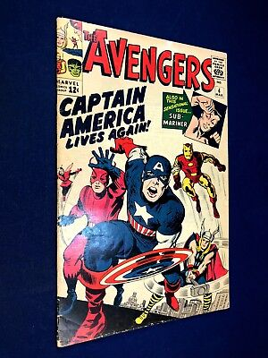 Avengers #4 (1964 Marvel Comics) 1st Silver Age appearance of Captain America