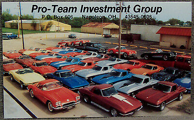 Post Card ~ Pro-Team Investment Group ~ 1956-1972 Corvettes