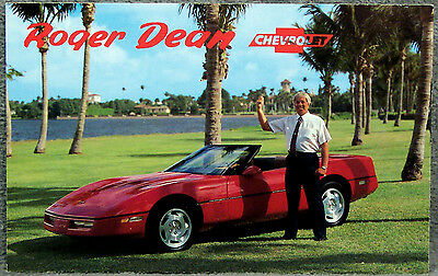 Post Card ~ Roger Dean Chevrolet ~ Red Corvette Convertible