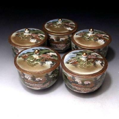 FO2: Vintage Japanese 5 Hand-painted Porcelain Sencha Tea cups of Kutani ware