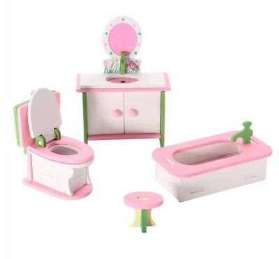 Miniature Dolls House Wooden Bathroom Furniture Kid Children Play Toys 4Pc Set