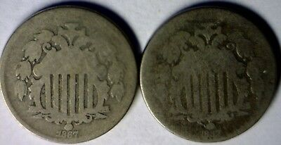 1867 Rays & No Rays PAIR of Shield Nickel Type Coins ~ 2 Coin LOT #2  NO RESERVE