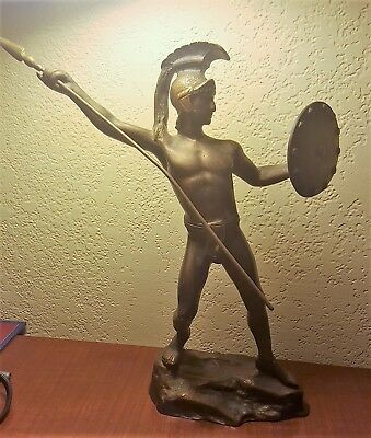 Antique ART DECO BRONZE NUDE AZTEC WARRIOR Old SHIELD & SPEAR Sculpture STATUE