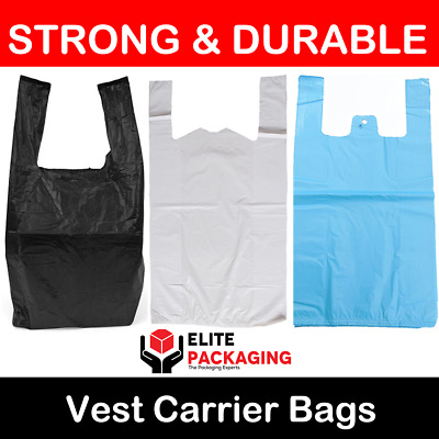 "WHITE BLUE BLACK PLASTIC CARRIER BAGS 11x17x21"" 19MU SHOP MARKET STALL LARGE XL"