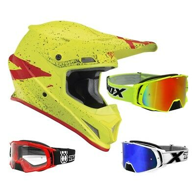 Thor Sector Hype Enduro Crosshelm Motocross Helm gelb rot TWO-X Rocket MX Brille