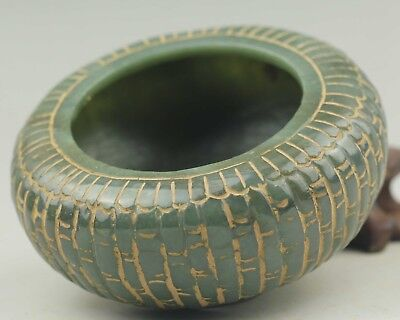 Chinese natural hetia jade hollowed-out statue brush washer 3.7 inch