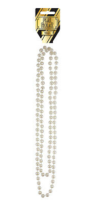Pearl Necklace White Beads 150cm Long Rope Chain Vintage Wedding Bridal Costume