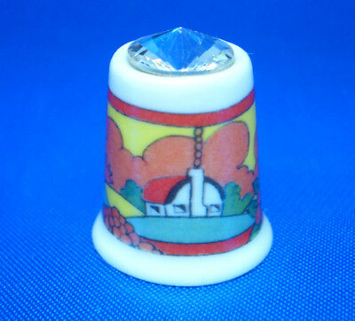 Fine Porcelain China Thimble - Art Deco With Swarovski Crystal Top -- Free Box