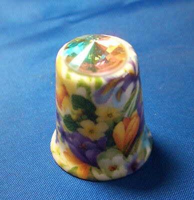 Fine Porcelain China Thimble - Spring Floral With Swarovski Crystal - Free Box