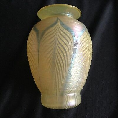 *NO RES* Vintage Pulled Feather Threaded Art Glass Vase Unsigned Lundberg Durand