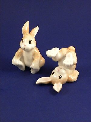 Fitz & Floyd Tumbling Bunnies Rabbits Figurines - Set Of 2