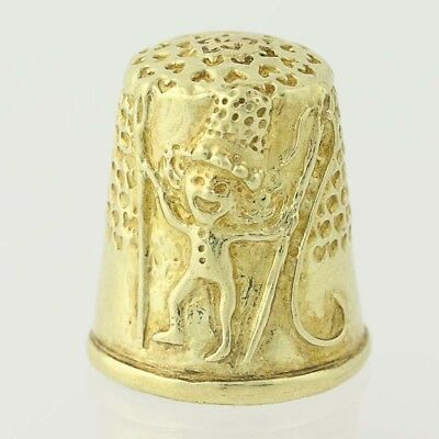 Figural Thimble - 18k Yellow Gold Whimsical Sewing Elf Tailor Gift