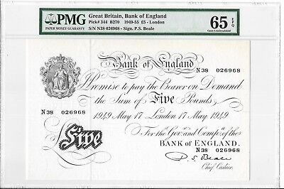 Great Britain, Bank of England - 5 pounds, 1949. PMG 65EPQ. RARE.