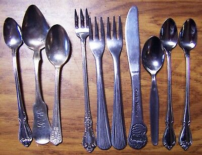 Lot of 13 Baby Spoons & Forks Stainless & Silverplate Some Vintage Rogers, Etc.