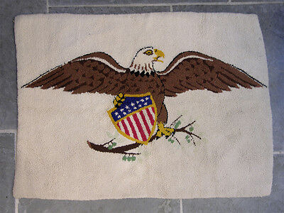 Vintage Patriotic Hooked Rug American Eagle with Stars & Stripes Shield 47 3/4 x