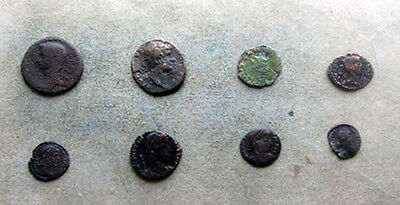 APG 8 Roman Coins, all different emperors including Claudius / Hadrian