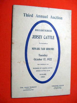 Jersey Cow Cattle Auction Catalog Newark OH 1922