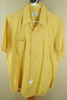 Vintage Men's Solid Gold Short Sleeve Cotton Poly 70's Casual Shirt M Medium NEW