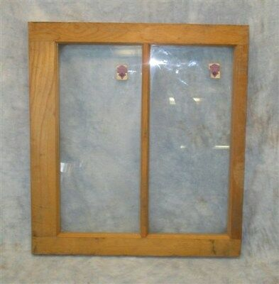 Old Wood Window Frame 2 Glass Panes Rustic Shabby Chic Cottage 24 x 22 z