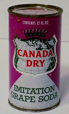Vintage Canada Dry Imitation Grape Soda 12 Ounce PUNCH TOP Can Bottom Opened wow