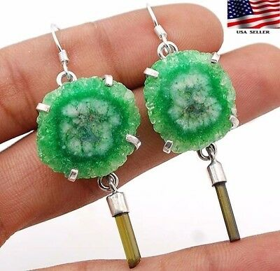 12g Tourmaline & Cluster Peridot 925 Solid Sterling Silver Earrings Jewelry A1-3