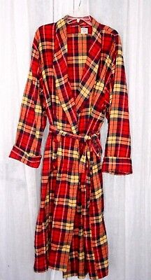 Vintage BROOKS BROTHERS Red Yellow Plaid 100% Cotton Robe L/XL
