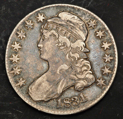 1831, United States. Early Silver Capped Bust Half Dollar (50 Cents) Coin. XF+