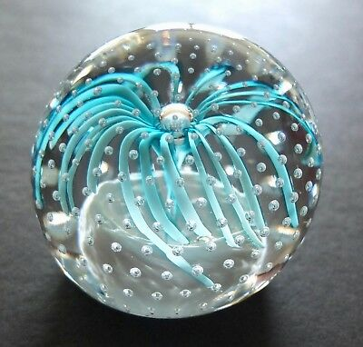 "Vintage Clear Glass Round Paperweight With Bubbles & Blue Geyser 2 3/4"" X 2 1/2"""