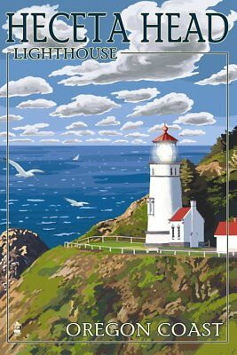 Heceta Head Lighthouse - Oregon Coast 9x12 Art Print, Wall Decor Travel Poster
