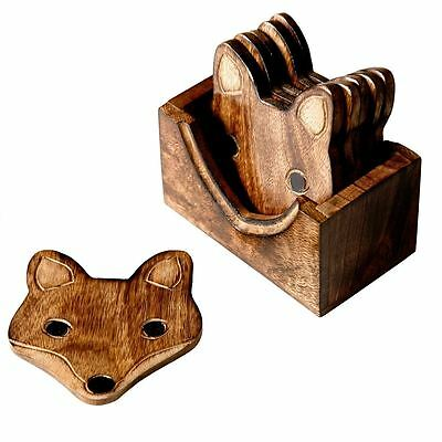 Vintage Wooden Fox Wood Coasters Set Of 6 With Holder For Coffee Tea Drinks