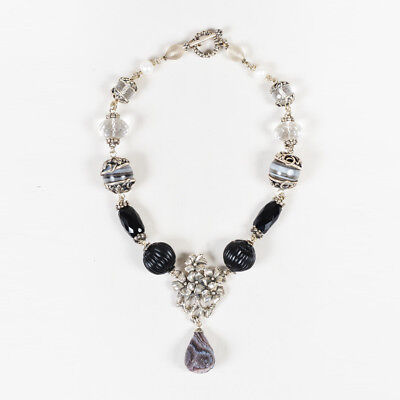 VINTAGE Stephen Dweck Sterling Silver Faceted Onyx Cultured Pearls Necklace