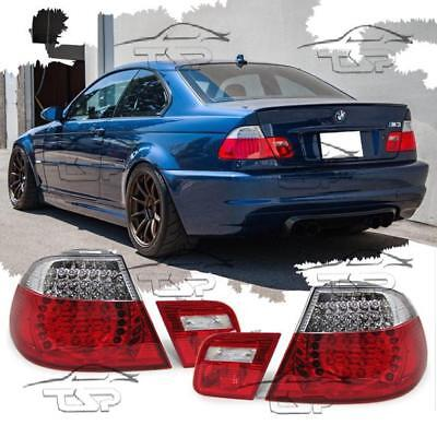 Rear Led Tail Lights Red-Clear For Bmw E46 99-03 Coupe Series 3 Lamp