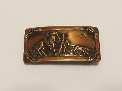 Vtg. Belt Buckle Cowboy & Horse Calf Roping Rodeo Southwestern Copper Toned
