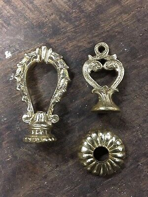 Antique Vintage Cast Brass Hanging Light Lamp Finial and Fixture Lot