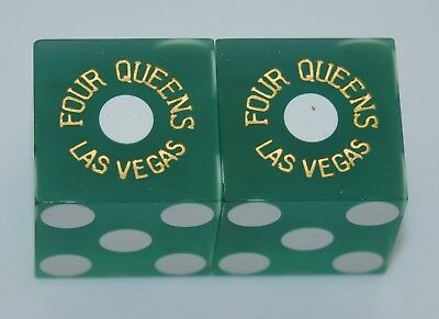 Casino Dice - Four Queens Hotel Pair Used Green Dice Las Vegas Nv Free Shipping*