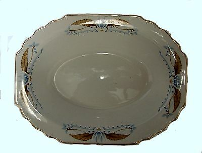 Lido W.S. George China Oval Serving Bowl Dish Blue Gold Leaf USA 117A Used