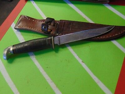 VINTAGE 1965 - 80 Case XX 3 Finn 316-5 Hunting Fixed Blade with Leather Sheath